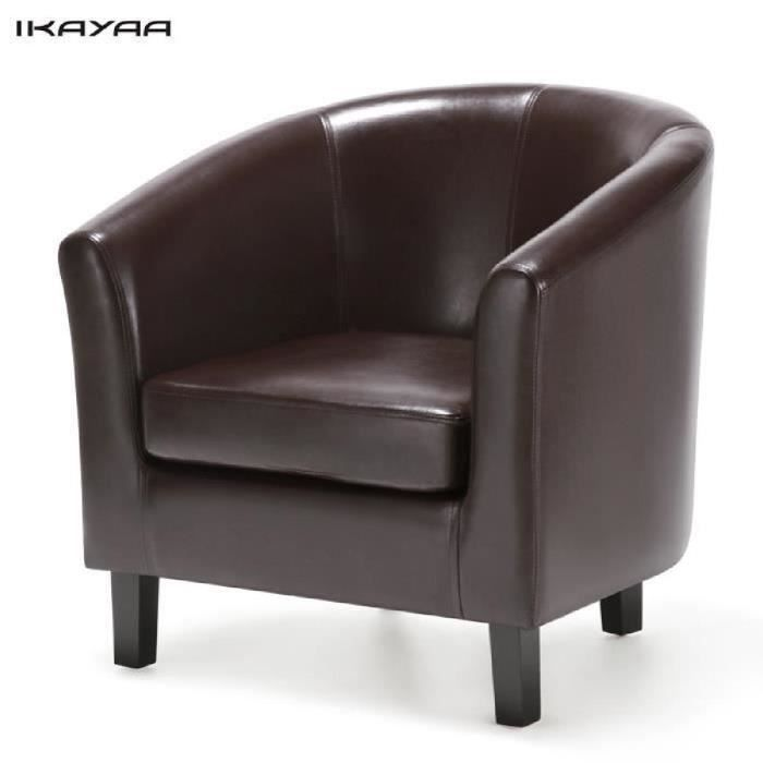 ikayaa fauteuil chaise pour salon chambre bistrot en cuir synth tique brun style moderne. Black Bedroom Furniture Sets. Home Design Ideas