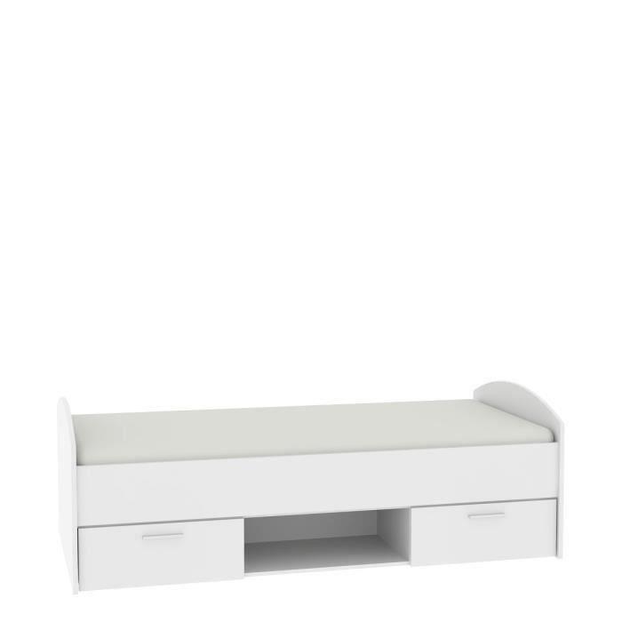 STRUCTURE DE LIT LUPO Lit enfant contemporain blanc mat - l 90 x L