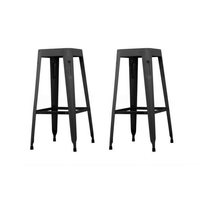 tabouret de bar industriel 65cm noir vieilli lot de 2 factory achat vente tabouret de bar. Black Bedroom Furniture Sets. Home Design Ideas