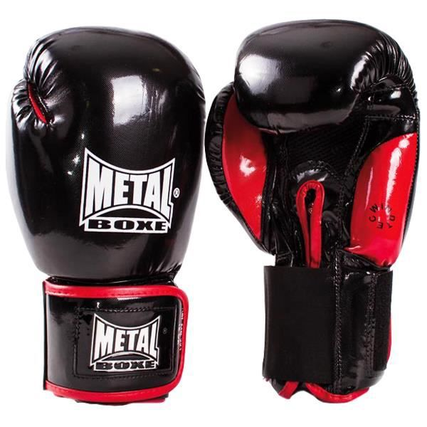 gants de boxe comp tition metal boxe noir brillant achat vente gant de boxe gants de boxe. Black Bedroom Furniture Sets. Home Design Ideas
