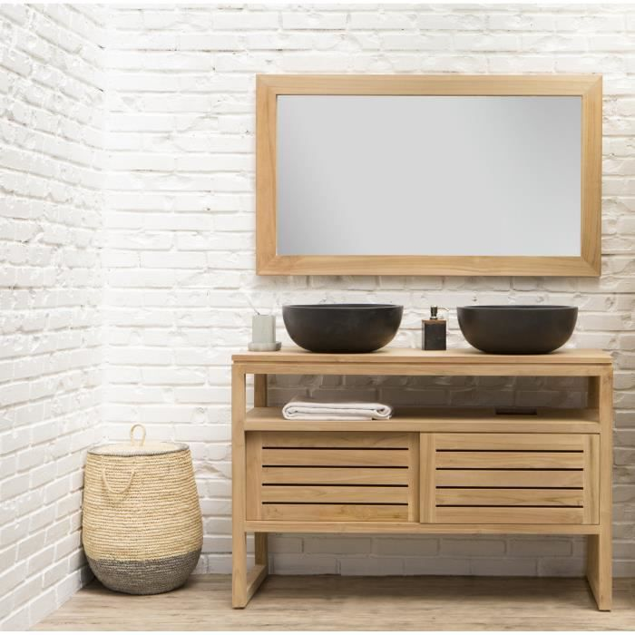 oahu ensemble salle de bain en bois teck massif double vasque l 120 cm avec miroir bois. Black Bedroom Furniture Sets. Home Design Ideas