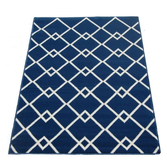 tapis de salon scandinave 120x160 cm bleu et beige achat vente tapis 100 polyester cdiscount. Black Bedroom Furniture Sets. Home Design Ideas