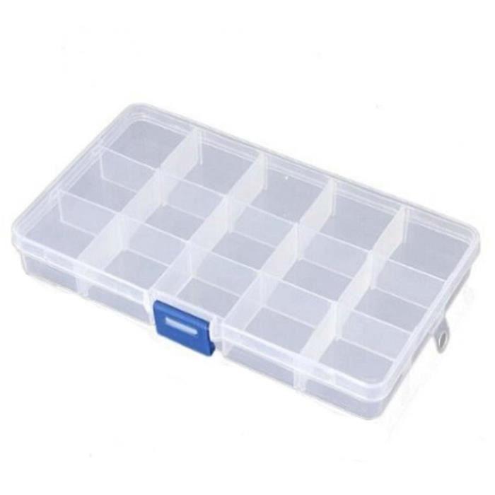 Boîte de Rangement Plastique Organisateur Boîte Pêche Boîte Compartiment