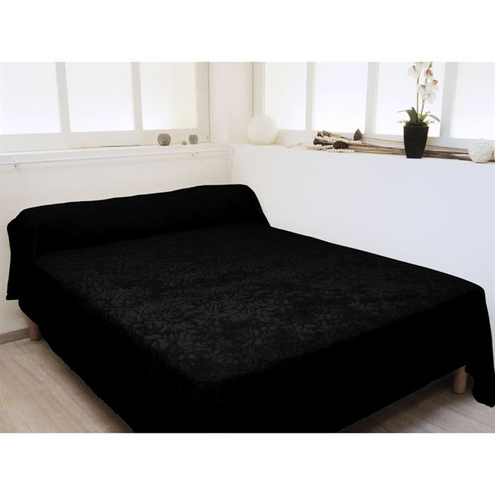 couvre lit pantagonie noir achat vente jet e de lit boutis cdiscount. Black Bedroom Furniture Sets. Home Design Ideas