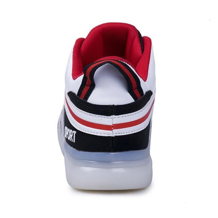 Chaussures De Sport Pour Teen Colorées LED Semelles Lumineuses Elégant Léger Respirant BASKET LKG-SXW719Rouge44