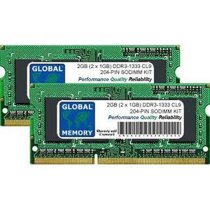 MÉMOIRE RAM 2Go (2 x 1Go) DDR3 1333MHz PC3-10600 204-PIN SODIM