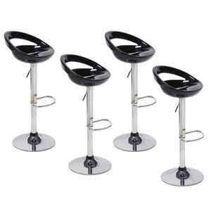 TABOURET DE BAR Lot de 4  tabourets chaise de bar noirs 59-80cm en
