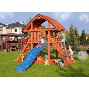 STATION DE JEUX Aire de Jeux en bois Tornade pour Enfants (tobogga