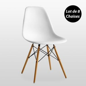 CHAISE Lot de 8 Chaises Scandinaves Blanches Style Eiffel