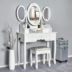 Generic Ensemble de Coiffeuse Moderne Va Moderne avec Miroir et Tabouret de Rangement