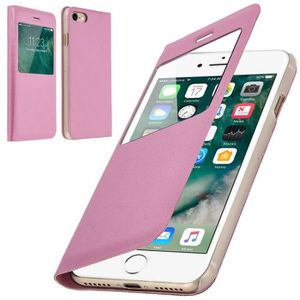COQUE - BUMPER Coque iPhone 6-6S Rabat Clapet Fenêtre Rose