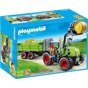 UNIVERS MINIATURE PLAYMOBIL 5121 Grand Tracteur avec Remorque