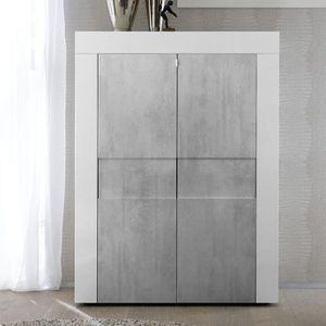 VITRINE - ARGENTIER Vaisselier 2 portes Blanc-Béton - TRANI - L 92 x l