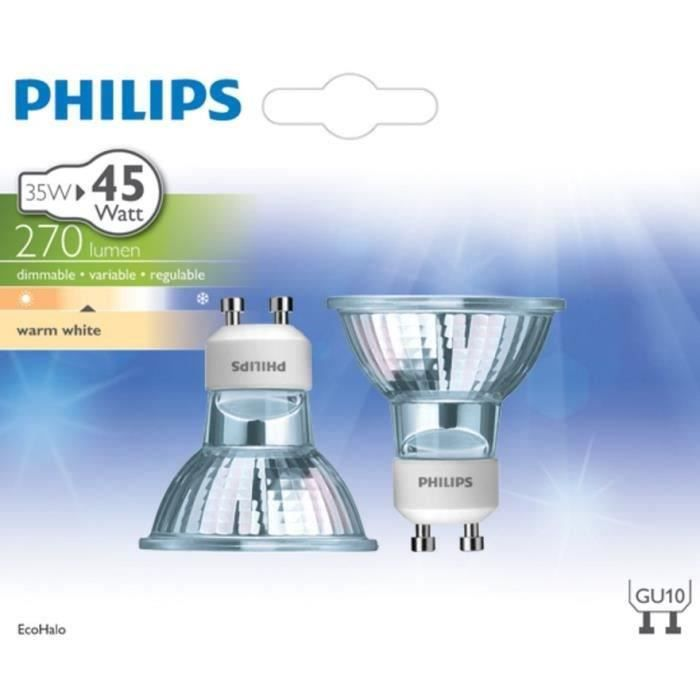 philips lot de 2 ampoules ecoclassic 35w gu10 achat vente ampoule led verre cdiscount. Black Bedroom Furniture Sets. Home Design Ideas