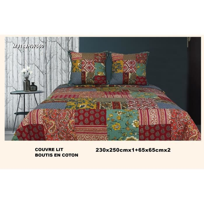 Boutis Couvre-lit Patchwork Esprit Floral Ethnic 230x250