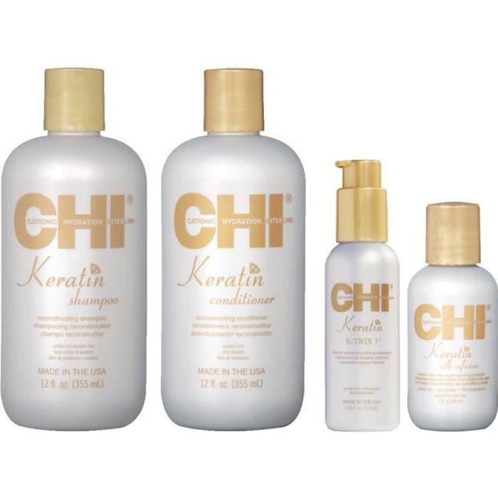 CHI Keratin - Kit Shampoing + Après-Shampoing + Soin lissant + Silk Infusion - Soins reconstructeur et lissants à la Kératine