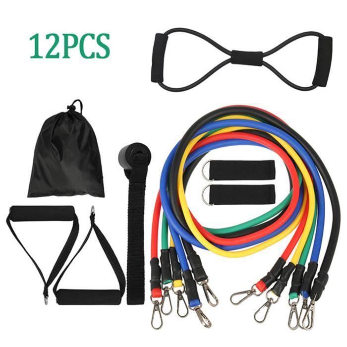 12 pièces / ensemble de corde de traction bande de fitness extenseur bande élastique yoga tube équipement de fitness