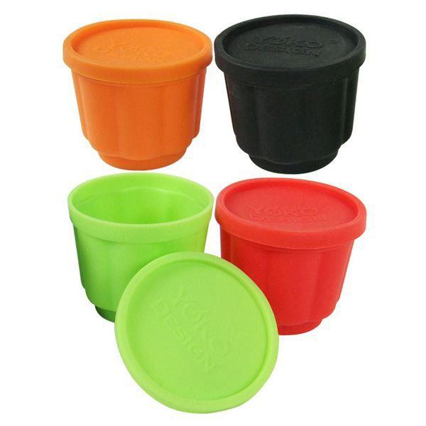 YOKO DESIGN Lot de 4 Moules à flan noir, vert, orange et rouge