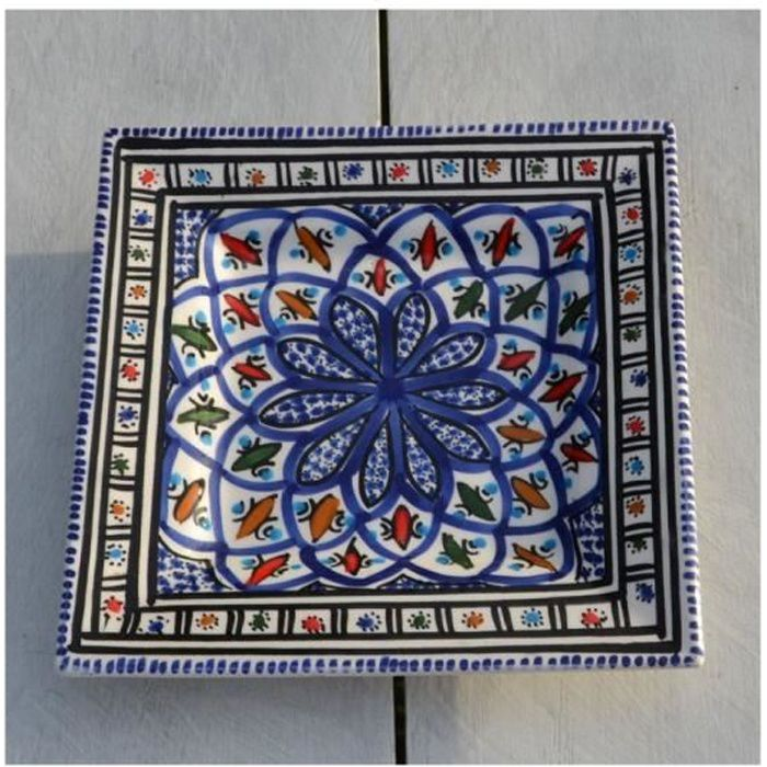 Assiette carrée Bakir bleu - L 19 cm