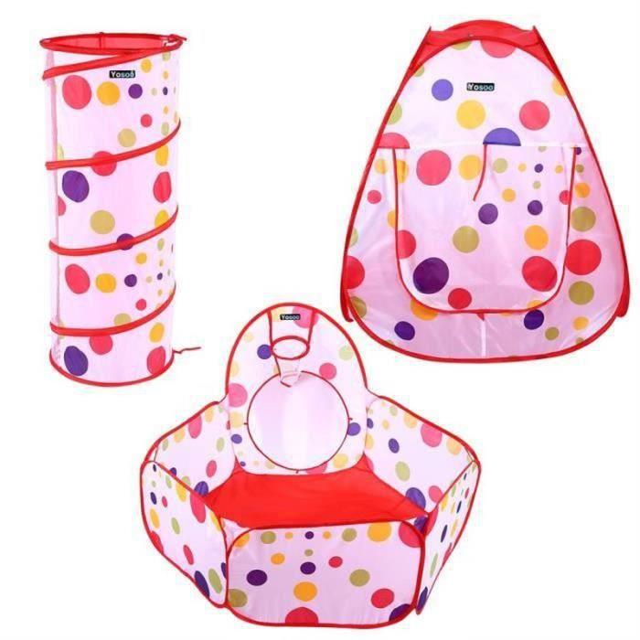 Tente Tunnel pour Enfant 3 en 1 Tente de Jeu Pliable Intérieur et Extérieur, Tent + Jeu Tunnel + Piscine à Balles, pour Bebe Enfa-G