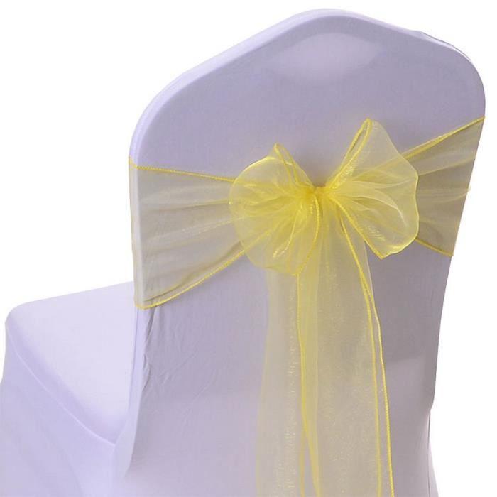30Pcs Ruban en Organza Nœud de Housse Chaise Décoration Mariage Banquet Jaune