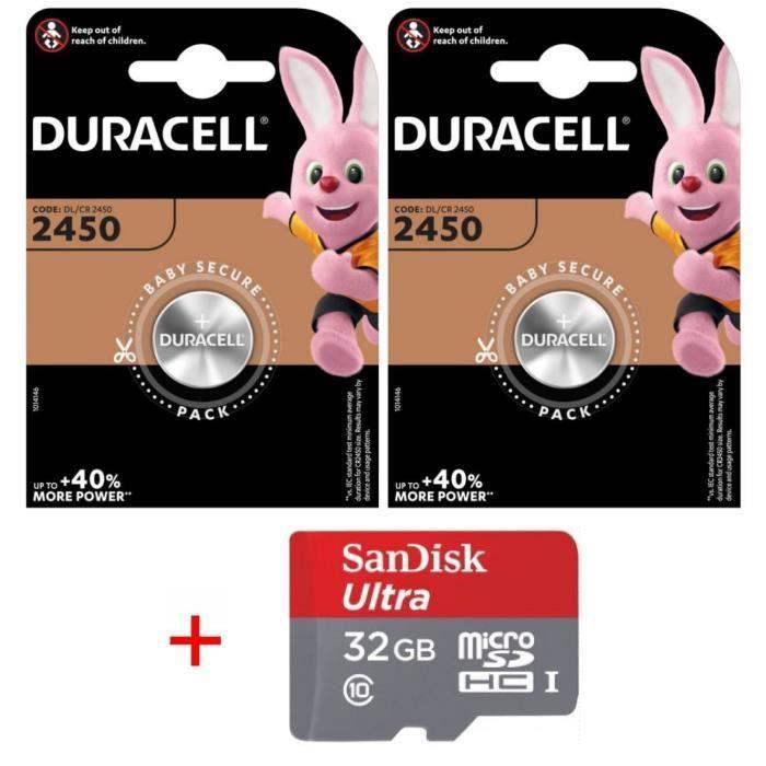 Pile CR2450 DURACELL lot de 2 piles lithium 3V CR 2450 3.0 Volts, pile plate bouton, capacité 620mAh avec étui pour Carte Bancaire