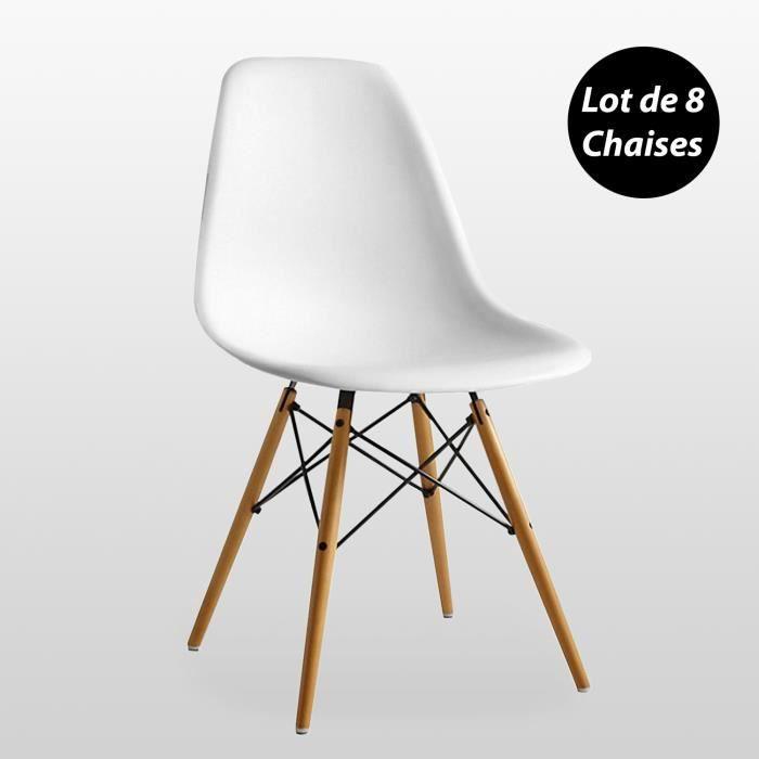 Lot de 8 Chaises Scandinaves Blanches Style Eiffel - Salle à Manger, Cuisine