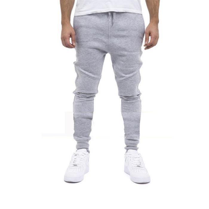 Pantalon Homme Sport Mode Casual Slim Fit Doux Rayures Fitness