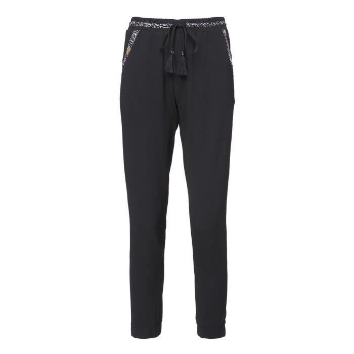 DEELUXE - Pantalon Noir en Crêpe avec Pompons et Passepoil Fantaisie