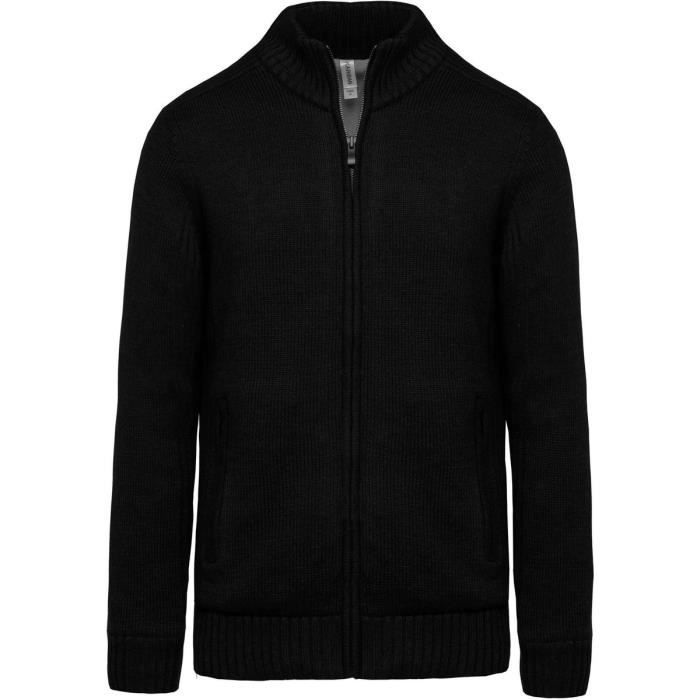 Gilet cardigan doublé polaire - HOMME - K959 - noir