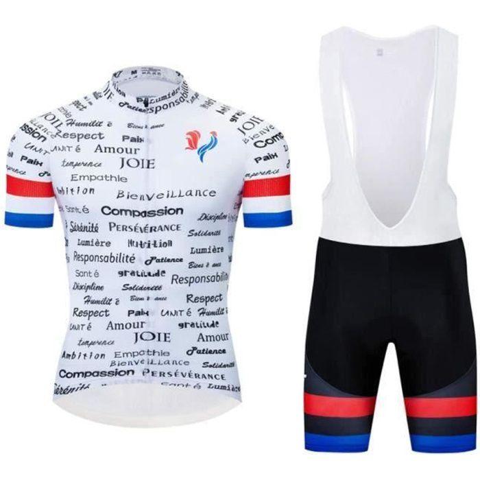France Maillot de Cyclisme Homme Manches Courtes Eté Professionnel + Cuissard à Cycliste Vélo GEL Vetement de VTT équipement de Pro