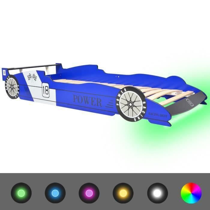 Lit voiture de course pour enfants Tout-Petits Garçon avec LED 90 x 200 cm Bleu