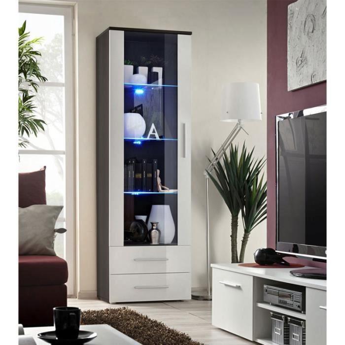 Vitrine Led Design -neo- 190cm Wengé & Blanc Brillant - Paris Prix