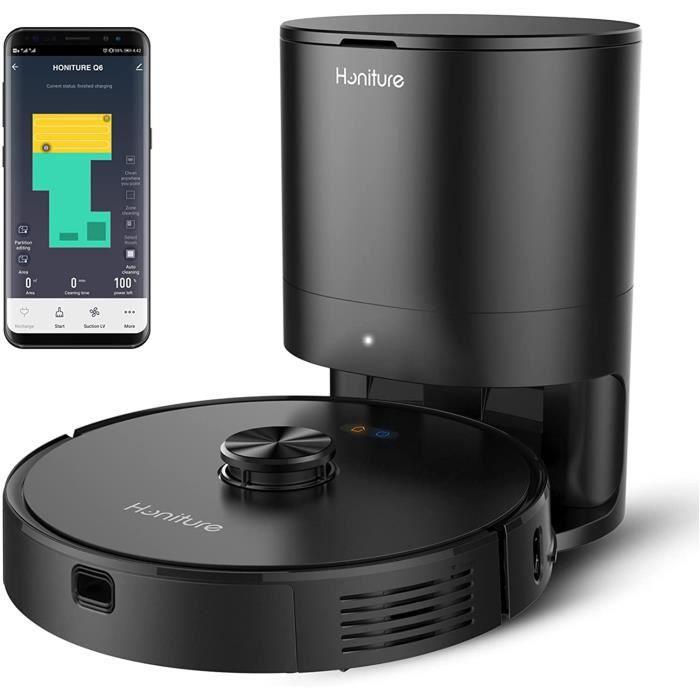 Q6 Robot Aspirateur Laveur,2700 Pa,Cartographie et Navigation Laser, avec Poubelle à Auto-vidage,Pressurisation de Tapis, WiFi/APP/