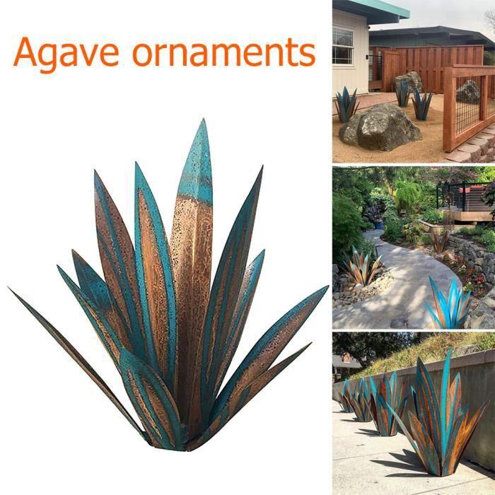 Sculpture en Tequila bleu rustique Agave Art en métal bricolage jardin décor cour décor à la maison