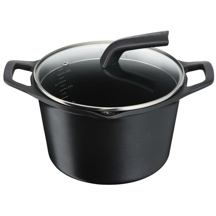 TEFAL E2156114 Marmite 22 cm AROMA - Capacité 6L - Fonte d'aluminium - Tous feux dont induction - Couvercle verre - Noir