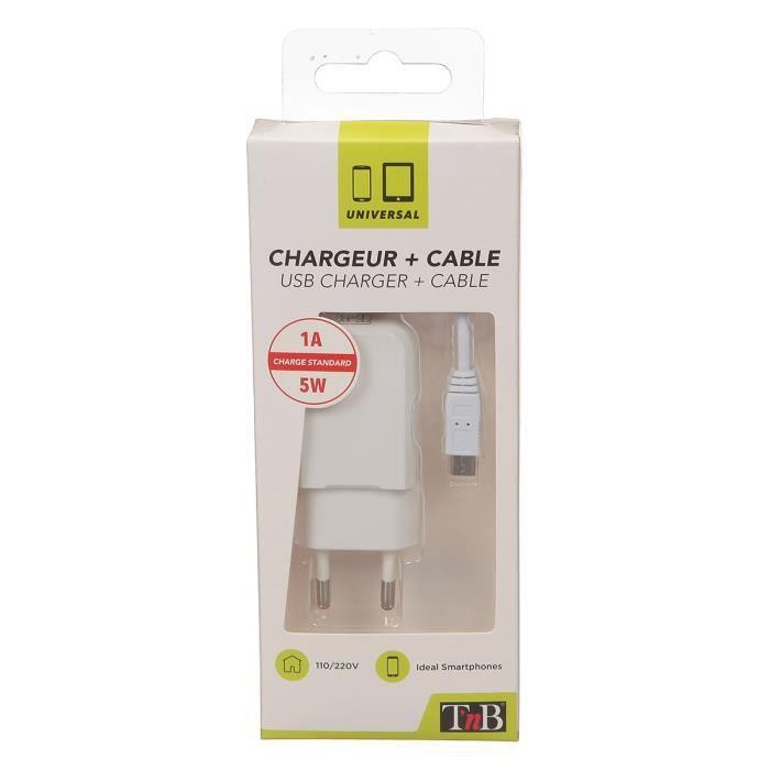 TNB Pack chargeur secteur USB + câble compatible tout Smartphone micro USB - Blanc
