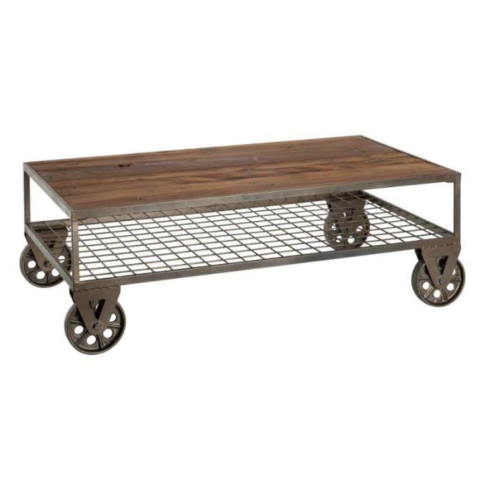 Table basse rectangulaire sur roulettes Métal/Bois - FIBYA - L 100 x l 55 x H 34