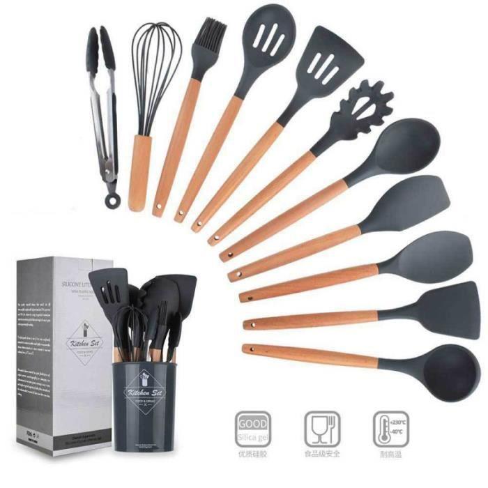 11pcs Set ustensiles de cuisine en silicone avec Boîte de rangement Coffret (Gris foncé)