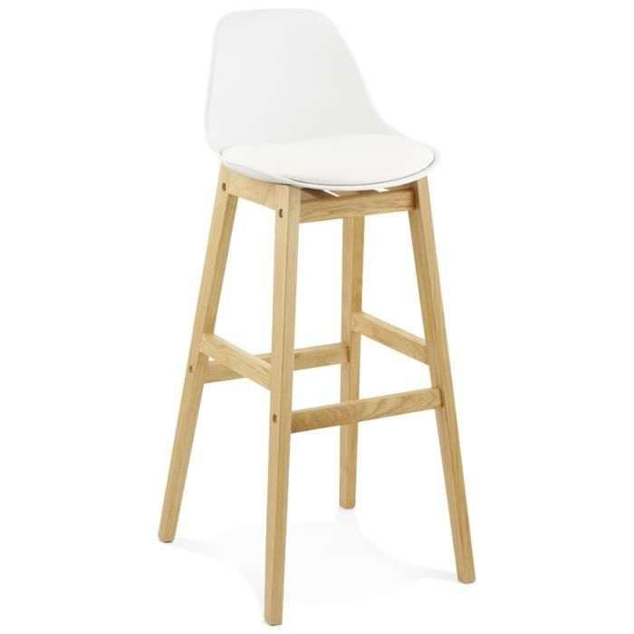 tabouret de bar 39 kiko 39 blanc style scandinave achat vente tabouret de bar blanc cdiscount. Black Bedroom Furniture Sets. Home Design Ideas