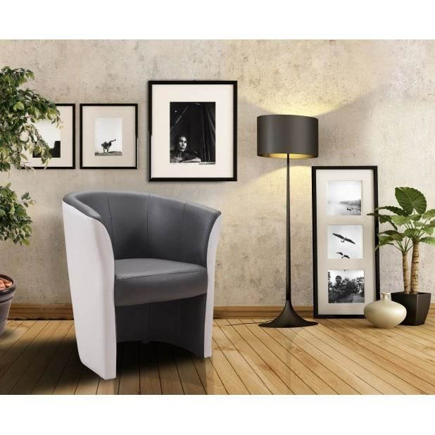 Fauteuil cabriolet anthracite blanc achat vente fauteuil gris cdiscount - Fauteuil cabriolet blanc ...
