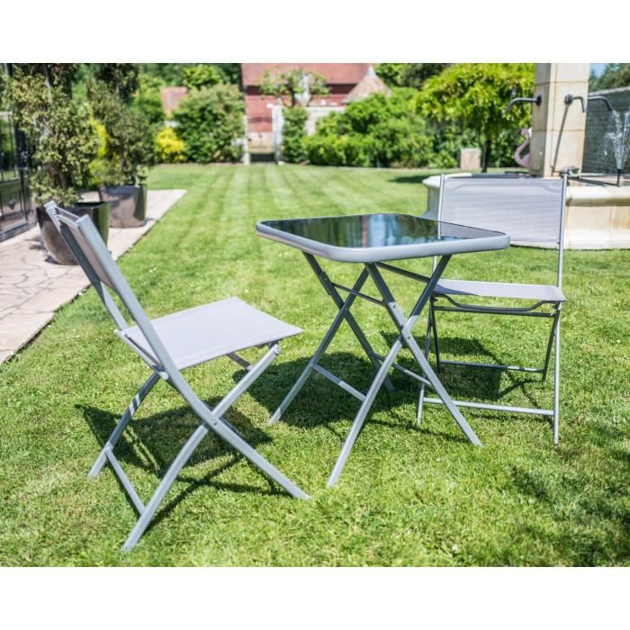 Ensemble pliable Table de jardin + 2 chaises Carry grise cet ...