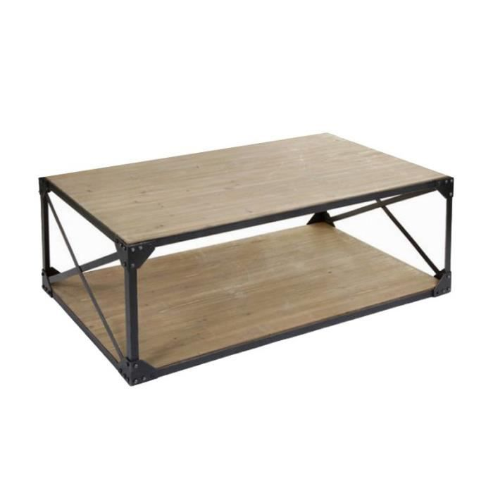 table basse rectangulaire industrielle achat vente. Black Bedroom Furniture Sets. Home Design Ideas