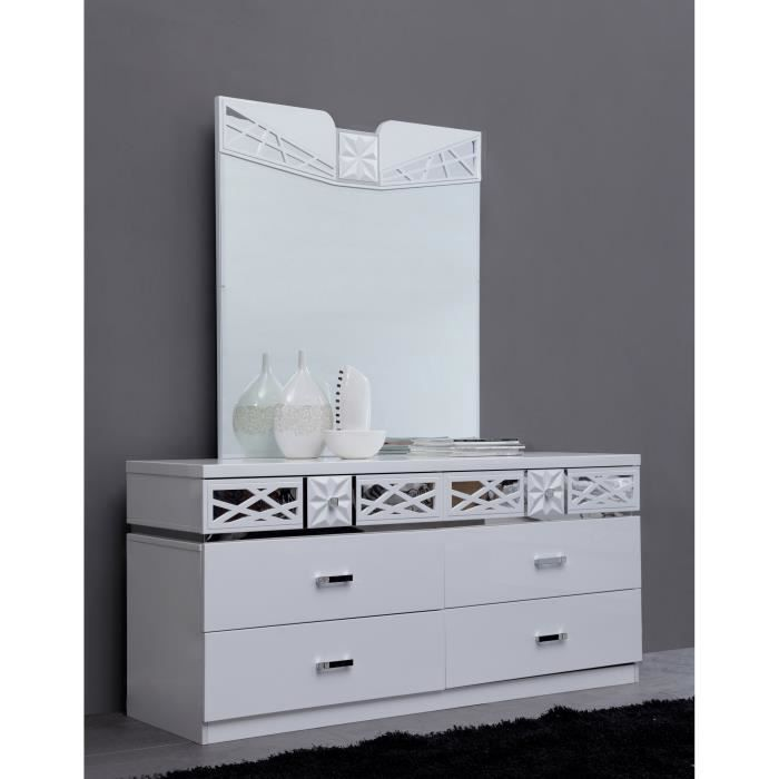 Commode adulte ultra design miroir laqu blanc achat for Chambre adulte laque blanc