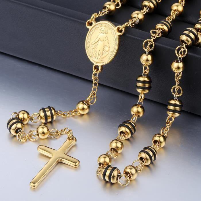 Homme Garçon Rosaire Jésus croix or en acier inoxydable collier pendentif chaîne 6 mm Bead