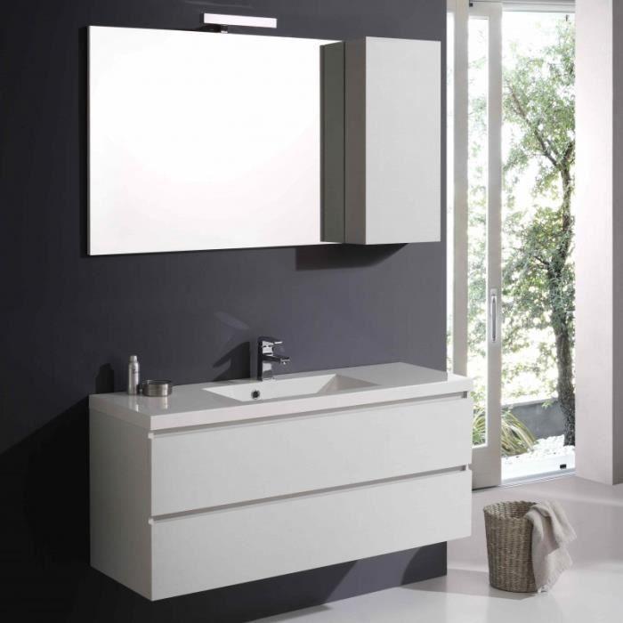 Salle De Bain Mobile Manhattan Avec Tiroir 120 Cm Couleur Blanc Foret Miroir Avec Cabinet Achat Vente Meuble Vasque Plan Salle De Bain Mobile Cdiscount