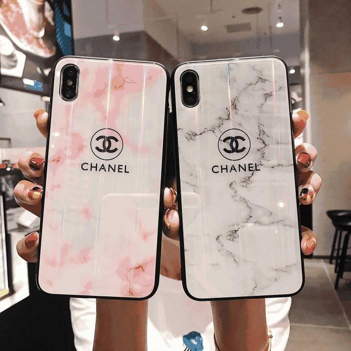 2PCS aurore Chanel Coque iPhone XS MAX - Verre Coque -Noir et ...