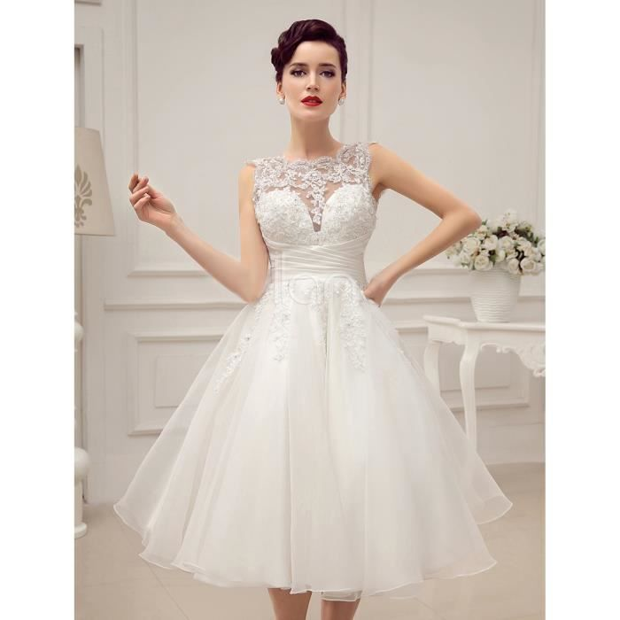 robe de mari e mariage courte bustier transparent sans manches forme princesse satin dentelle. Black Bedroom Furniture Sets. Home Design Ideas