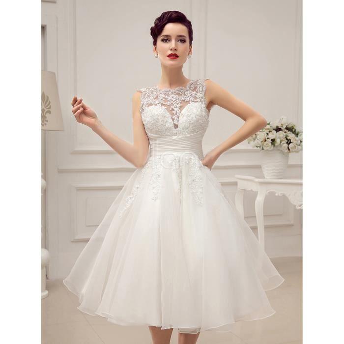 Robe de mariée-mariage courte bustier transparent