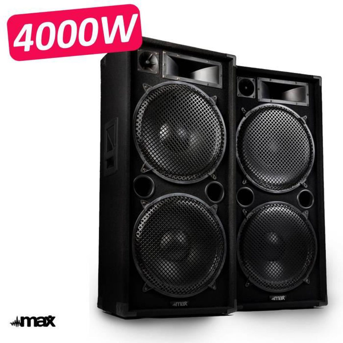 paire d 39 enceinte sonorisation 4000w pro dj max 215 full range 4x38cm pack sono avis et prix. Black Bedroom Furniture Sets. Home Design Ideas